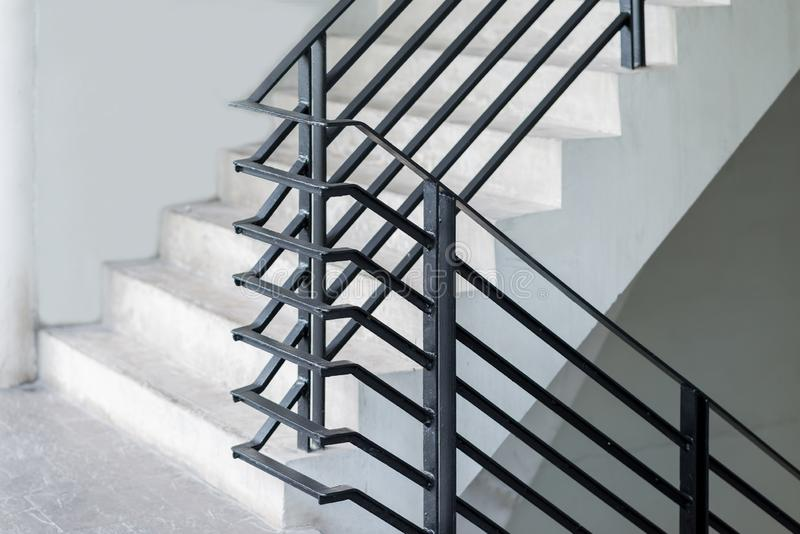 Black metal stairway banister exterior decoration modern building stock images