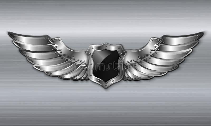 Black metal winged shield emblem vector illustration