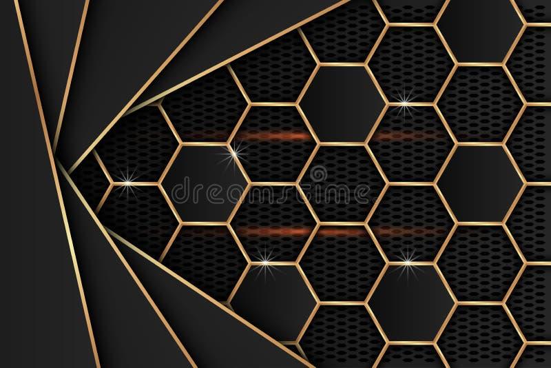 Black metalblad met gouden randen op het zwarte netwerk als achtergrond royalty-vrije illustratie