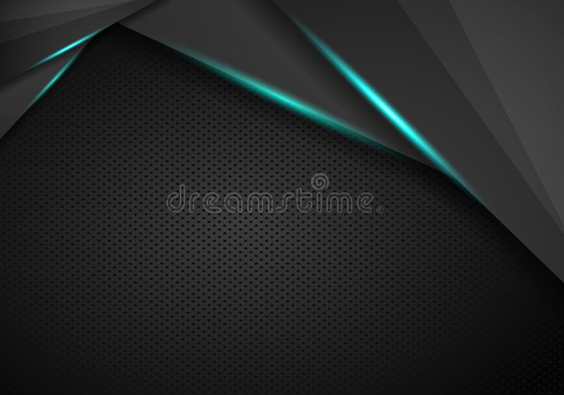 Black metallic background triangle and corner element overlap layer and dark space for text design.  stock illustration