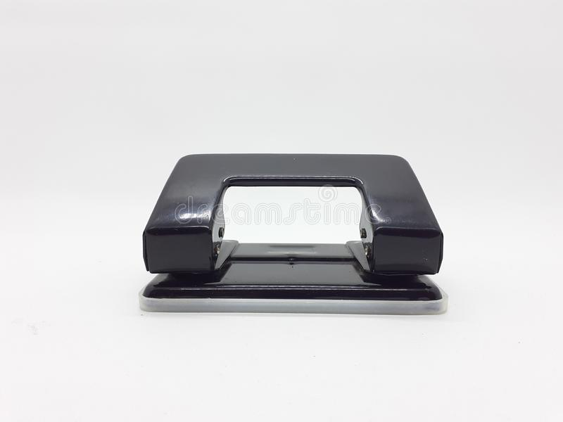 Black Metallic Paper Hole Punch for Office Tools in White Isolated Background 01 royalty free stock photography