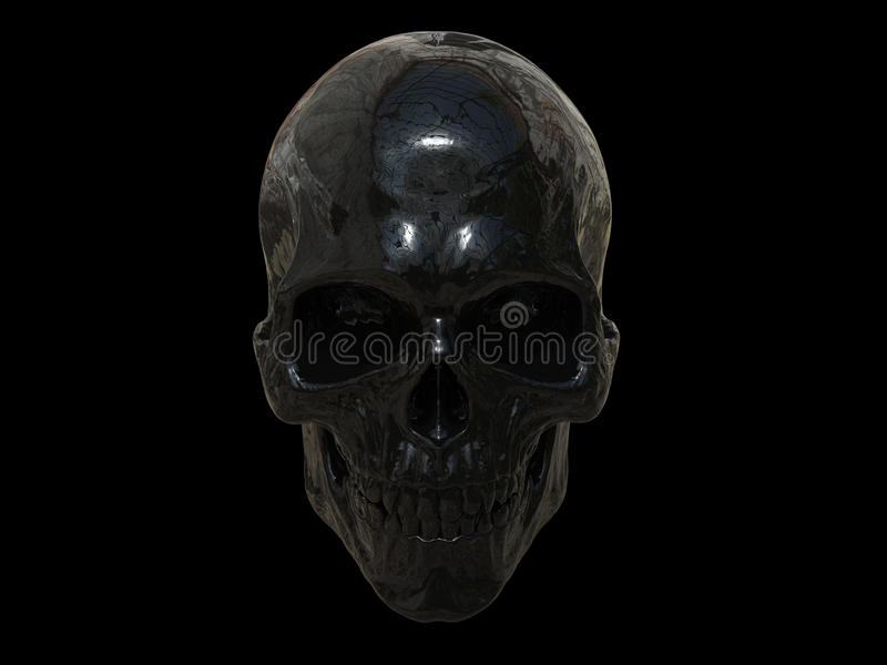 Black metallic skull vector illustration
