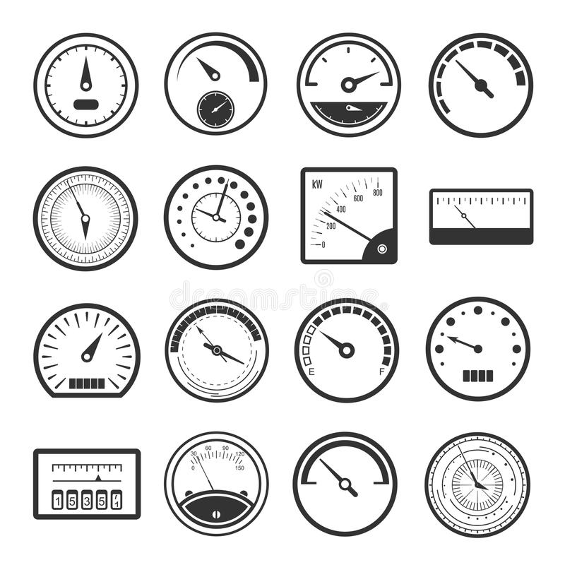 Black meter icon set. Instruments for measuring distance travelled by a vehicle, car speed control panel in black and white. Vector flat style cartoon stock illustration