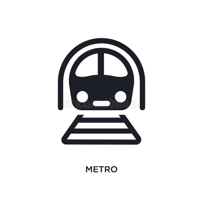 black metro isolated vector icon. simple element illustration from transportation concept vector icons. metro editable logo symbol stock illustration