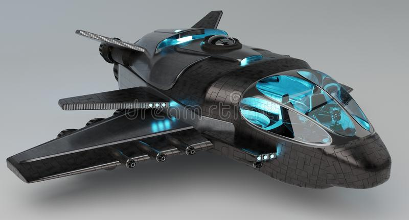Futuristic spacecraft isolated on grey background 3D rendering stock illustration