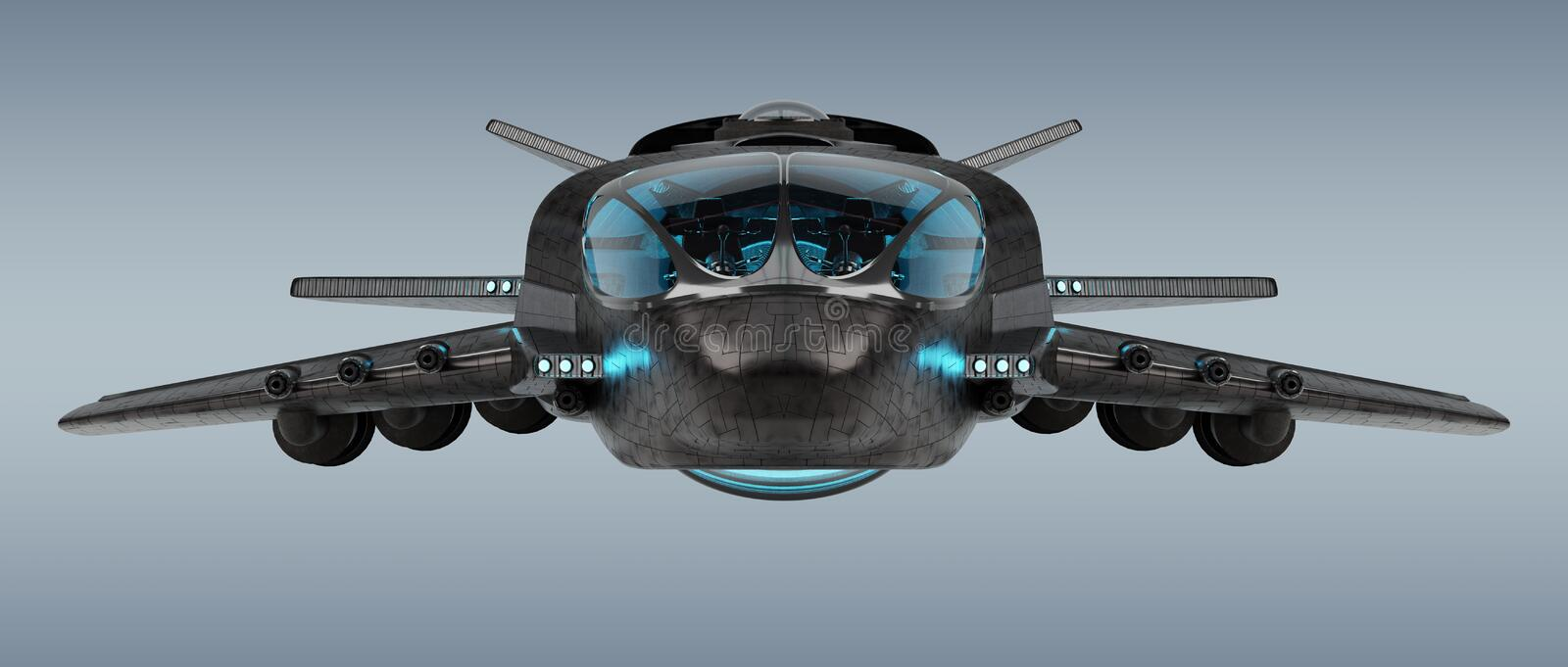 Futuristic spacecraft isolated on grey background 3D rendering vector illustration
