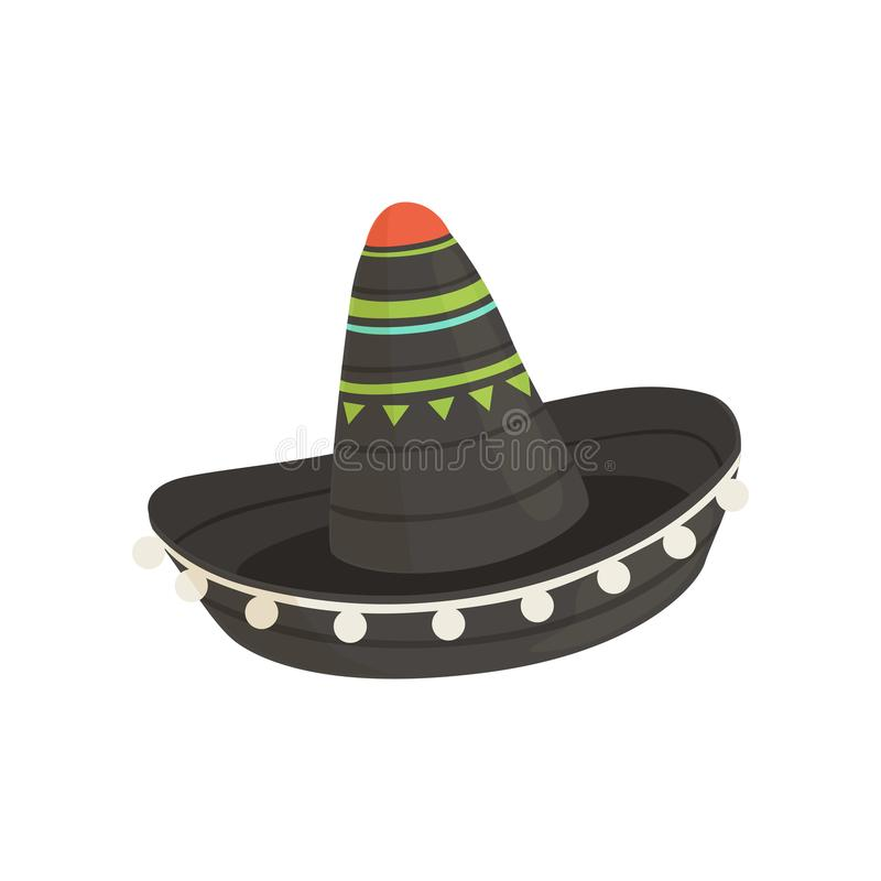 Black Mexican sombrero hat, traditional symbol of Mexico vector Illustration on a white background. Black Mexican sombrero hat, traditional symbol of Mexico vector illustration