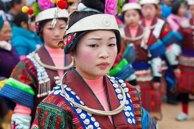 Black Miao girls dancing at festival, Kaili, Guizhou Province royalty free stock photography