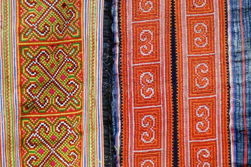 Black Miao minority women traditional costume textile detail. Town of Sapa, north-west of Vietnam. Деталь трад� stock photography