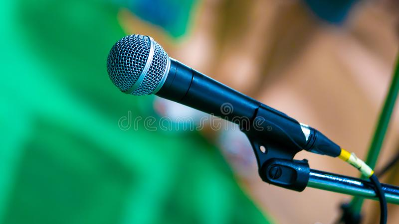 Black Mic Microphone With Stand. For Announce Information Or Comprehend Speech Communication royalty free stock images