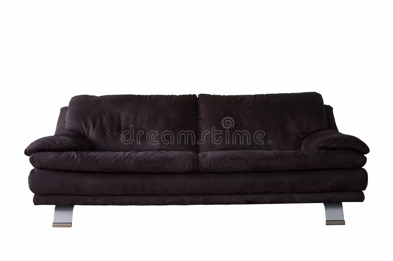 Download Black Microfibre Couch Isolated On White Stock Image - Image of light, room: 4263093