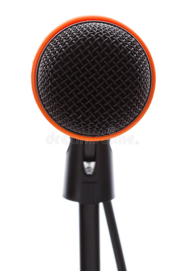 Black microphone with cable on stand stock photography