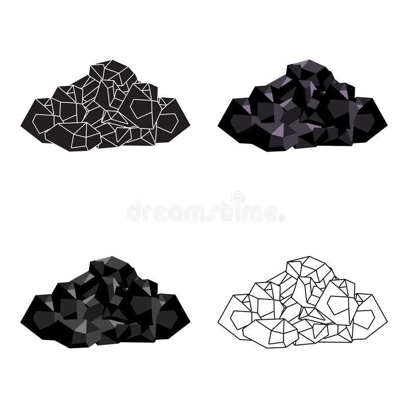 Black minerals from the mine.Coal, which is mined in the mine.Mine Industry single icon in cartoon style vector symbol. Stock web illustration stock illustration