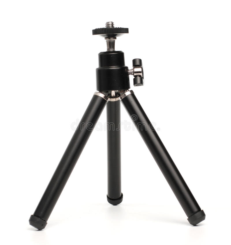 Black Mini Tripod. For Cellphone in White background royalty free stock images