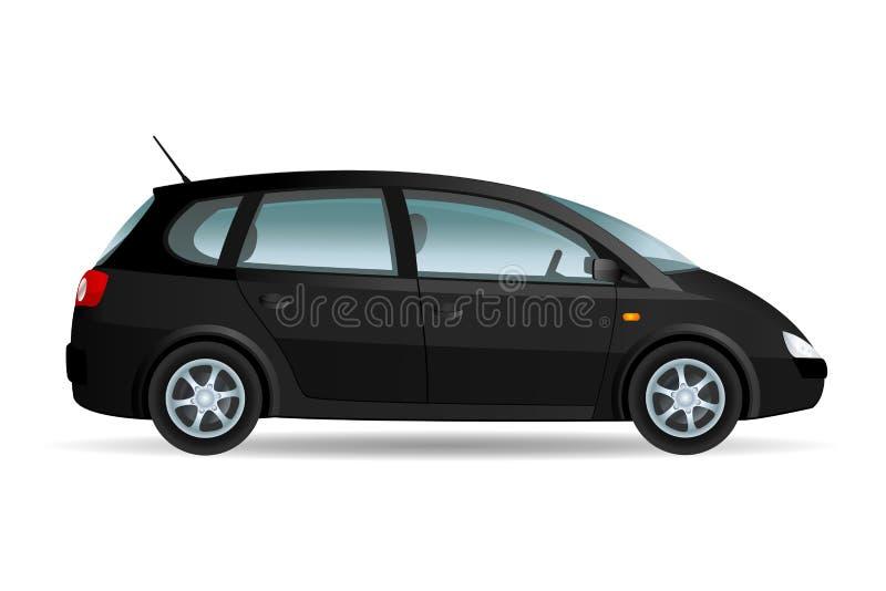 Black Minivan. Vector illustration of a minivan, family car. Original design, no brand stock illustration
