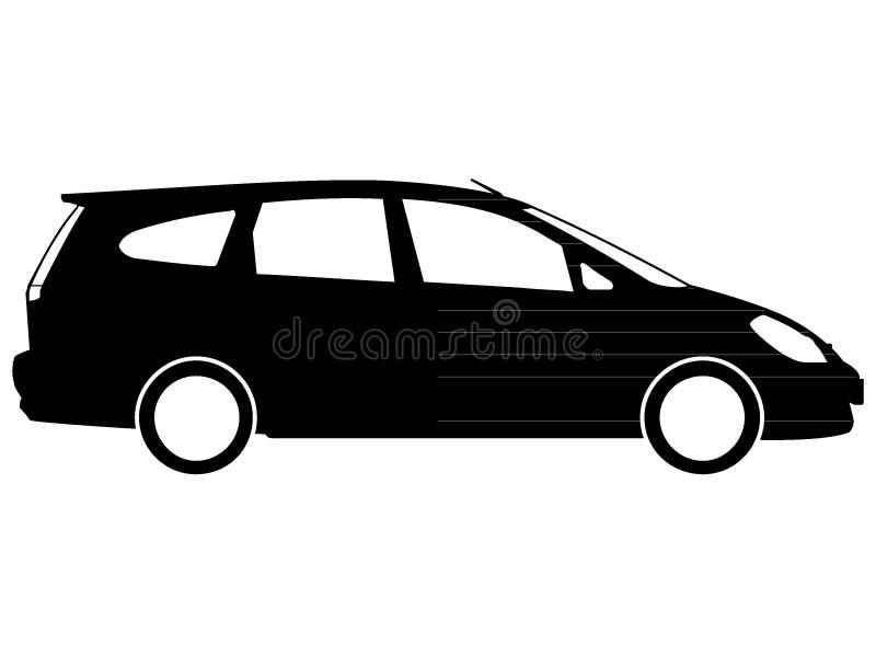Black Minivan Drawing. Vector Illustration of a Black Minivan Drawing stock illustration