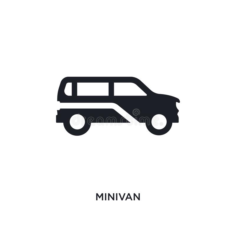 black minivan isolated vector icon. simple element illustration from transportation concept vector icons. minivan editable logo stock illustration