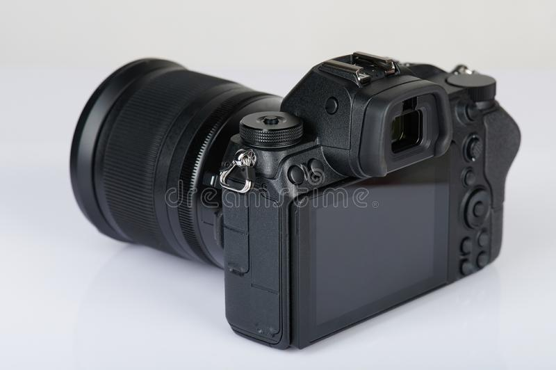Black mirrorless camera stock image