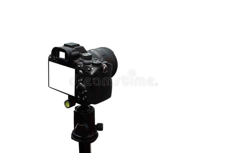 Black mirrorless Camera isolated on white background,,include clipping path stock images