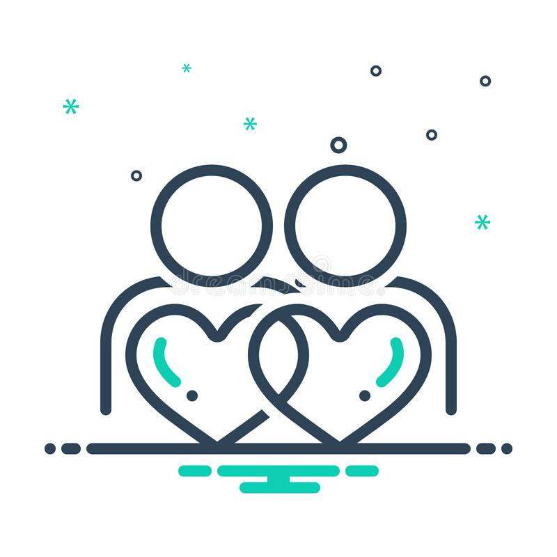 Black mix icon for Belong, pertain and relation. Black mix icon for Belong, together, romance, romantic, love,  pertain and relation vector illustration
