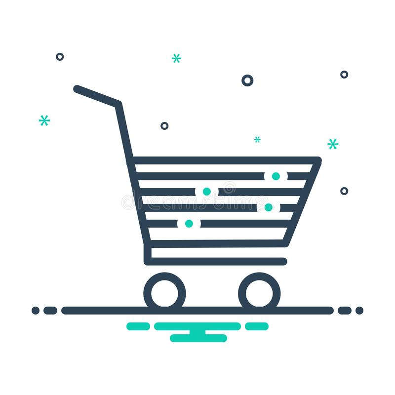Black mix icon for Cart, purchase and shopping. Black mix icon for Cart, trolley, logo, symbol,  purchase and shopping vector illustration