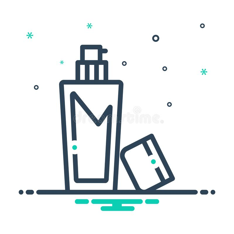Black mix icon for Cleanser, antibacterial and apply. Black mix icon for Cleanser, moisturizing, beauty,  antibacterial and apply stock illustration
