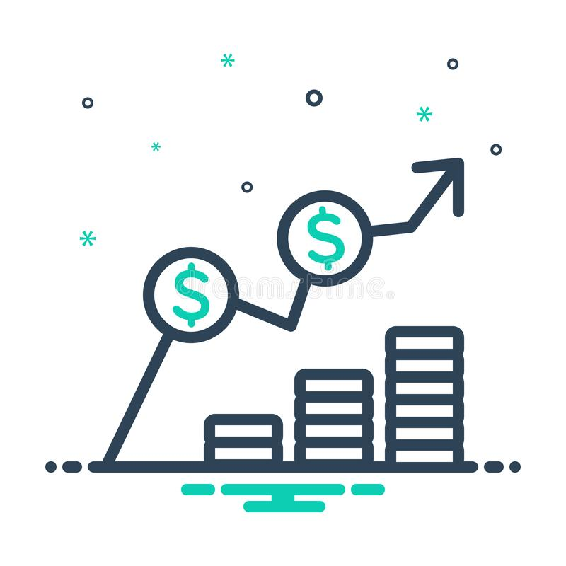 Black mix icon for Cost, expense and expenditure. Black mix icon for Cost, charge, earning, increase, miscellaneous,  expense and expenditure stock illustration