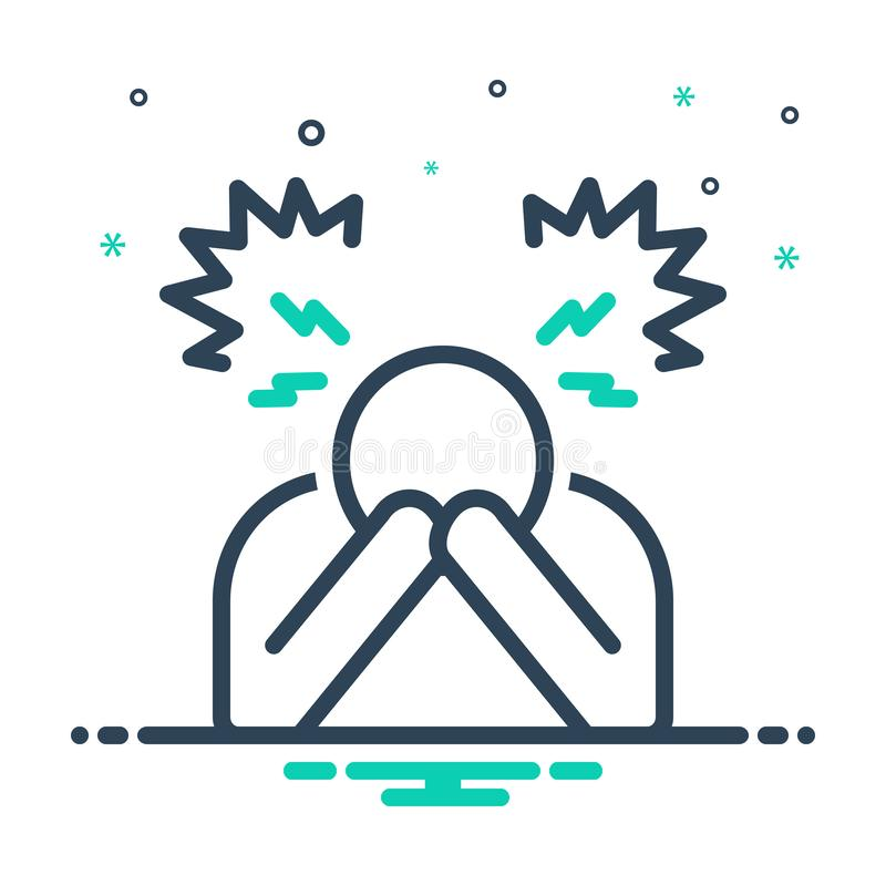 Mix icon for Despair, disappointment and frustration. Mix icon for Despair, hopelessness, discouragement,  disappointment and frustration stock illustration