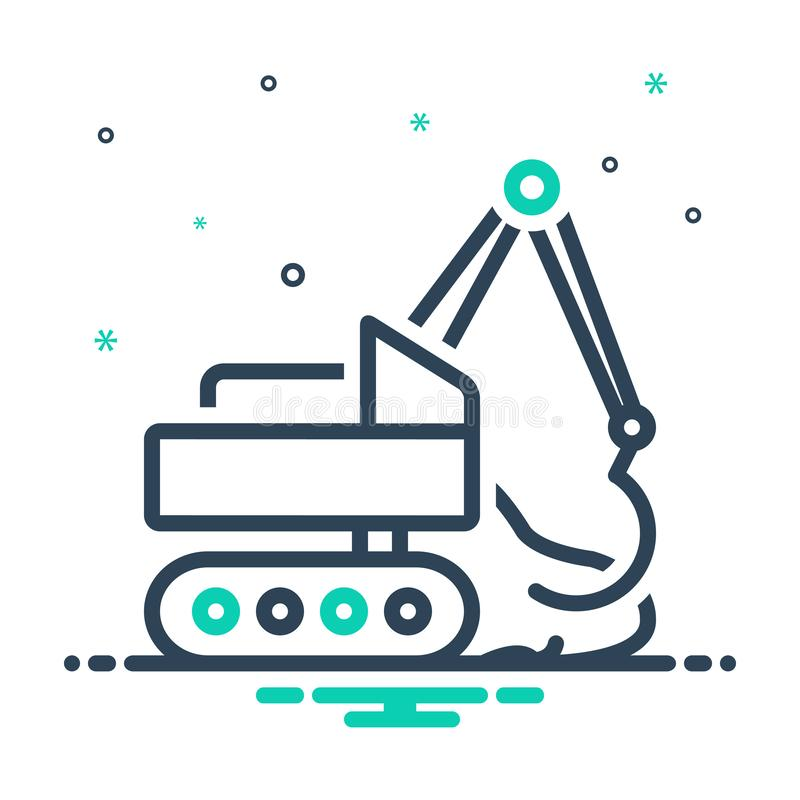 Black mix icon for Earthmoving, excavator and digger. Black mix icon for Earthmoving, machine, development, vehicle,  excavator and digger vector illustration