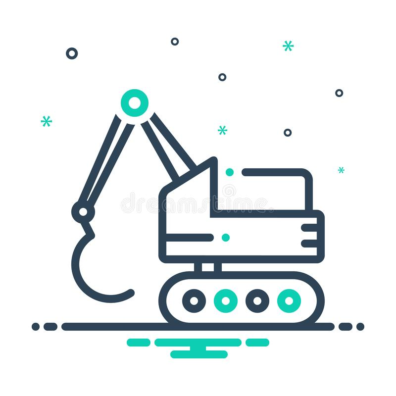 Black mix icon for Excavator, construction and bulldozer. Black mix icon for Excavator, backhoe, digger, logo,  construction and bulldozer royalty free illustration