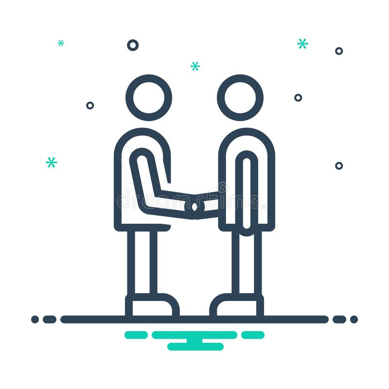 Black mix icon for Partner, fellow and companion. Black mix icon for Partner,  friend, buddy, dost, handshake,  fellow and companion vector illustration