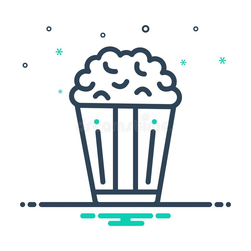 Black mix icon for Popcorn, corn and crunchy. Black mix icon for Popcorn, snack, unhealthy, food, logo,  corn and crunchy stock illustration