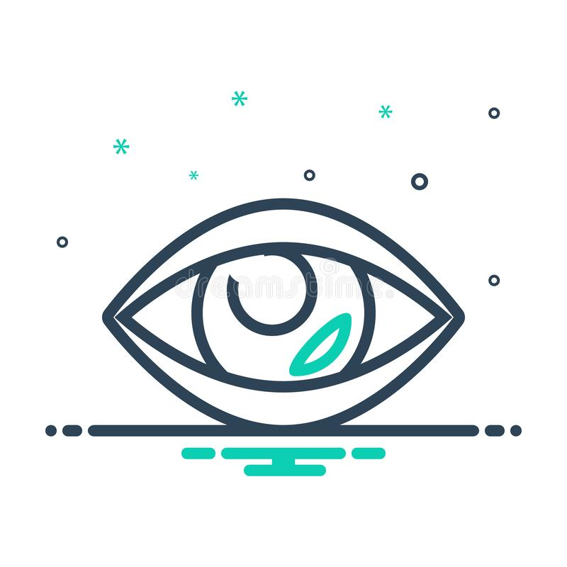 Black mix icon for Vision, see and view. Black mix icon for Vision, look, sight, watch, eyesight, eyeball,  see and view vector illustration