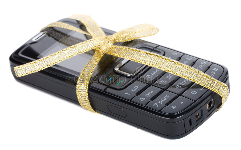 Black mobile phone with gold ribbon