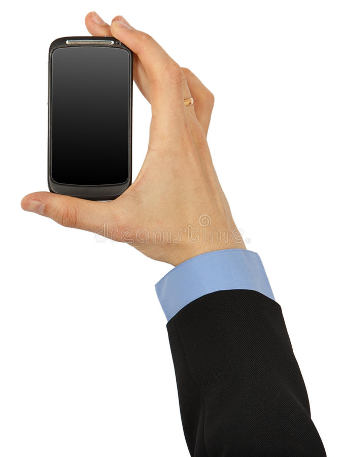 Black mobile phone in male hand stock images