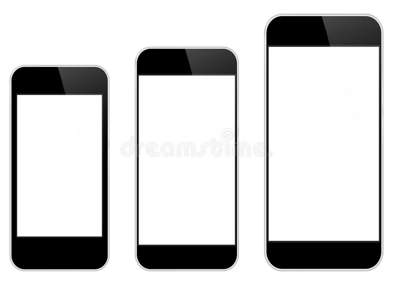 Black Mobile Phones Isolated. Black Mobile Phones Comparison Between Similar iPhone 5s And The New iPhone 6 Isolated On White stock illustration