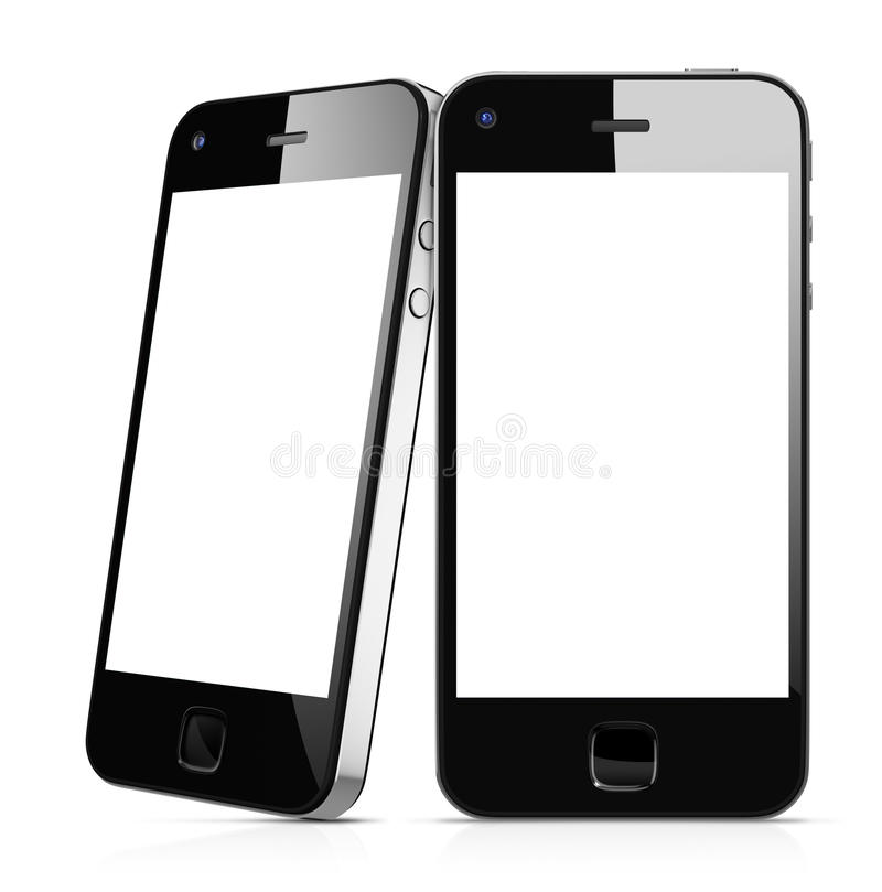 Black Mobile Phones Isolated on White.  stock illustration