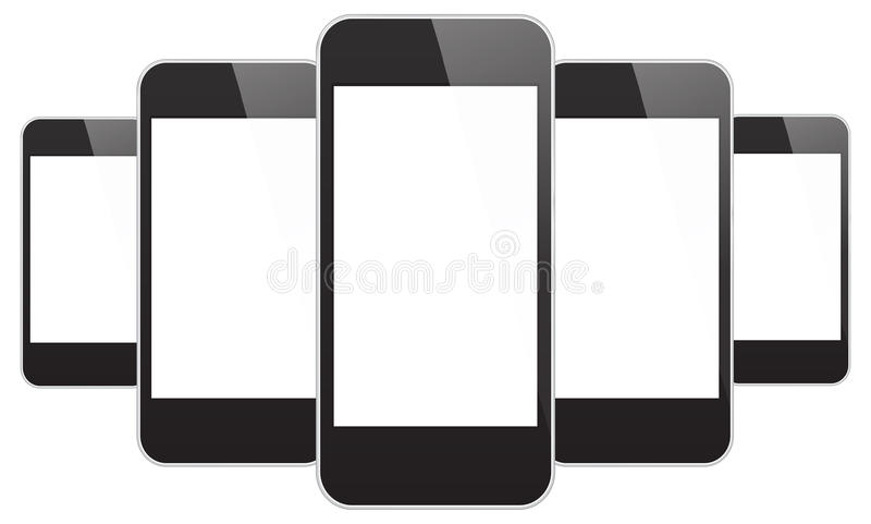 Black Mobile Phones Similar To iPhone 5s vector illustration