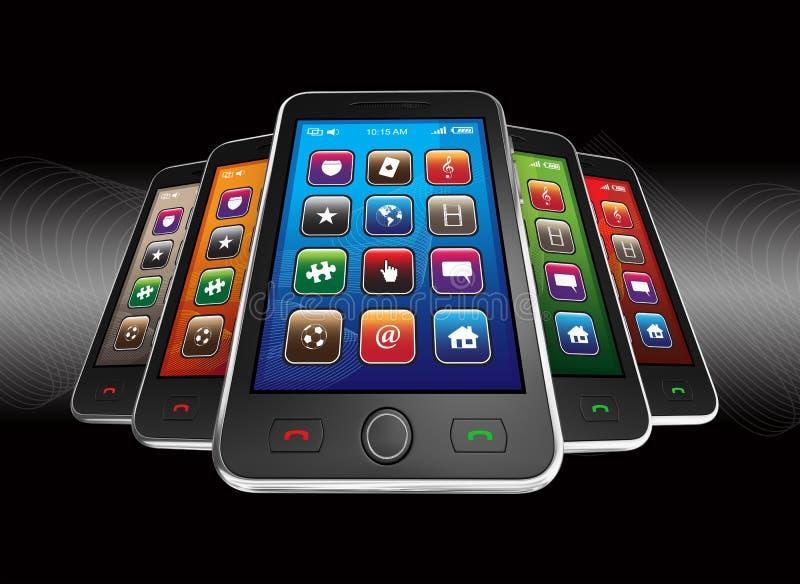 Download Black mobile smart phones stock illustration. Illustration of connection - 17096314