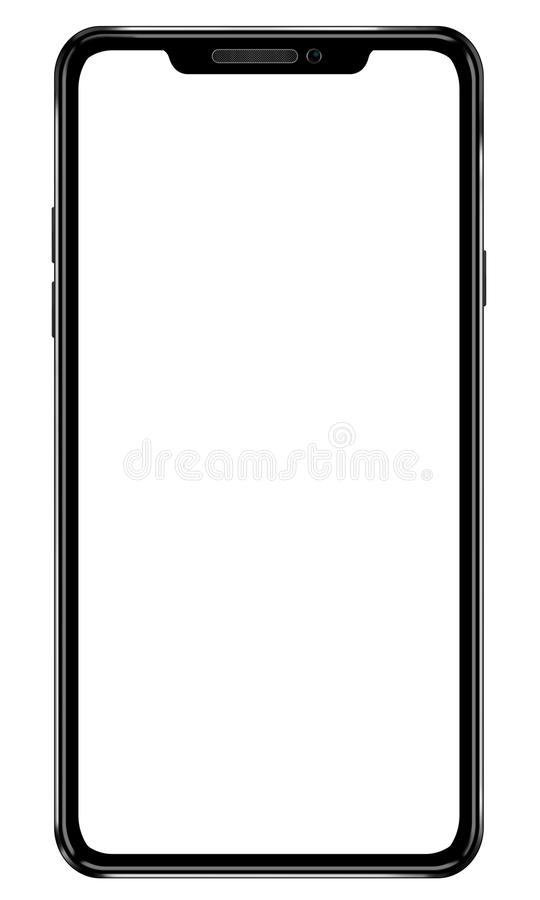 Black mobile smartphone illustration. Modern frame less design. With blank screen for your design royalty free stock photo