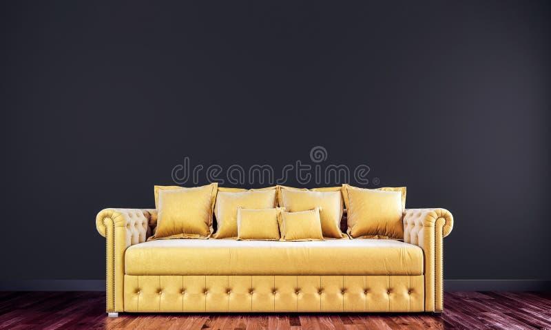 Black mock up wall with gold tufted sofa in modern interior background, living room, Scandinavian style. 3D render, 3D illustration vector illustration