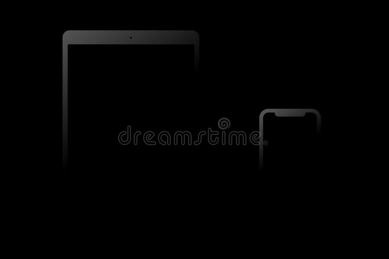 Black model of the iPad Pro and iPhone X on a black background royalty free illustration