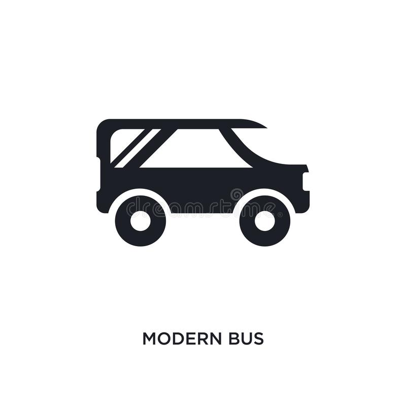 Black modern bus isolated vector icon. simple element illustration from transport-aytan concept vector icons. modern bus editable. Logo symbol design on white vector illustration