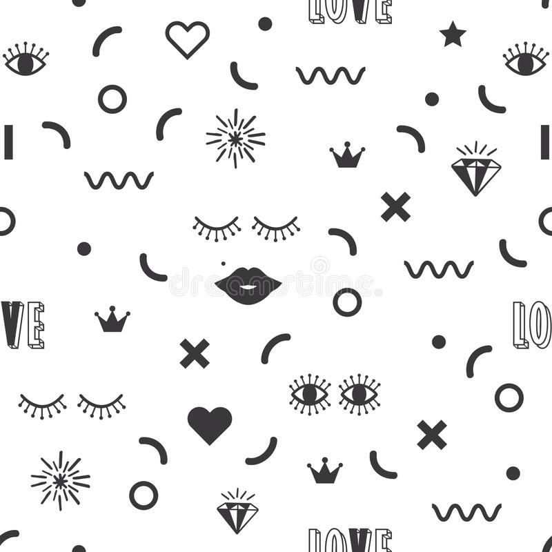 Black modern geometrical and fun symbol icons pattern on white background stock illustration