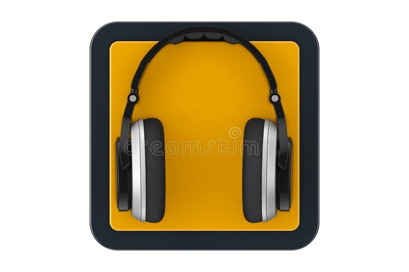 Black Modern Headphones as Touchpoint Web Icon Button. 3d Rendering. Black Modern Headphones as Touchpoint Web Icon Button on a white background. 3d Rendering royalty free illustration