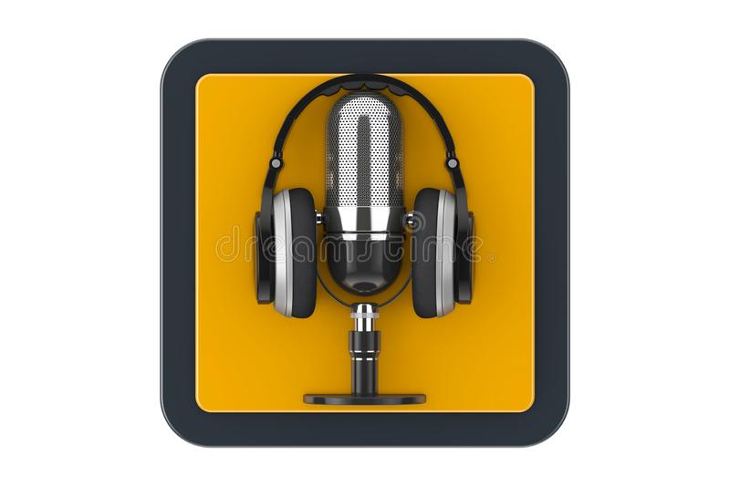 Black Modern Headphones with Retro Microphone as Touchpoint Web Icon Button. 3d Rendering. Black Modern Headphones with Retro Microphone as Touchpoint Web Icon vector illustration