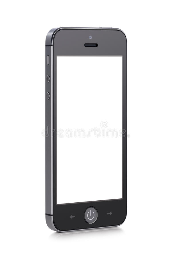 Black modern mobile smart phone with blank screen stock photos