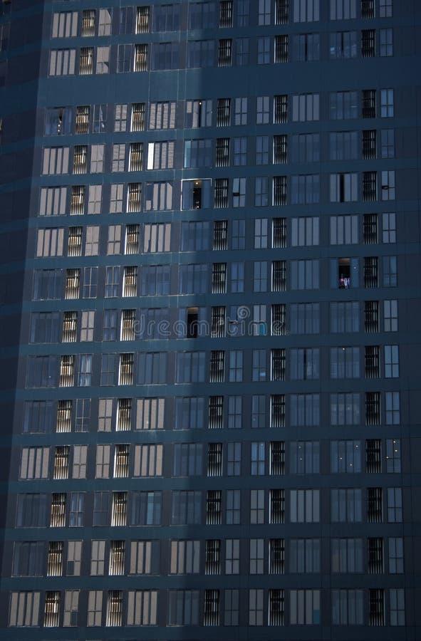 Black modern residential skyscraper facade stock photography