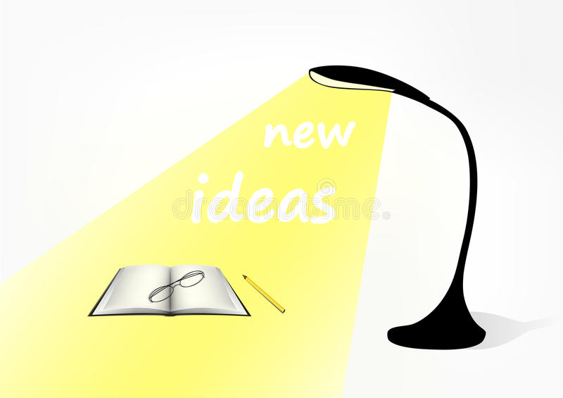 Black modern table lamp, a book, a glasses and a pencil on the table. In the light of the lamp text New ideas stock illustration