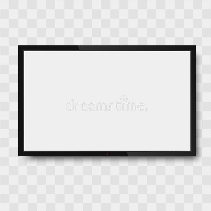 Black monitor on transparent background. TV screen, led type or lcd.  stock illustration